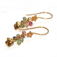 Gold Vermeil Elephant Earrings Rainbow Afghani Tourmaline Dangle Earrings Bali Star Handcrafted Gemstone Jewelry