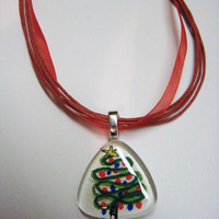 Pendant Necklace with Christmas Tree watercolor painting necklace glass tile necklace holiday