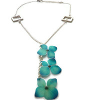 Real Hydrangea Necklace in sterling silver. Turquoise jewelry. Real flower necklace. Eco friendly necklace.