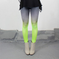Ombre Leggings Grey to Neon Green -  MADE To ORDER