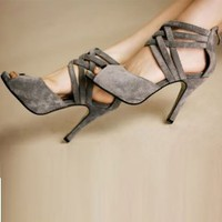 Gray Summer Stylish Waterproof Open Toe Pumps : Wholesaleclothing4u.com