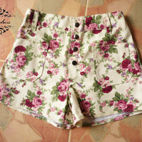 "Vintage Girl's Shorts...Floral Shorts Inspired Shabby Chic -Sweet Girl Cream with Pink Floral- -Size S-M- 12""SHORT LENGTH"