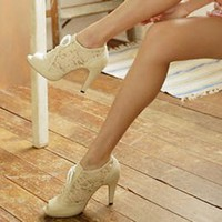 White Lace Tie Ladies High Heel Shoes : Wholesaleclothing4u.com
