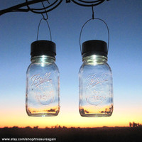 Solar Eco Friendly Lights Going Green Eco-Friendly Wedding 2 Clear Ball Mason Jar Solar Lights  Hanging Lanterns, Upcycled Garden Decor