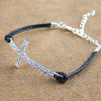 Bright diamond jewelry bracelet--Diamonds Cross Bracelet  wax attachment bracelet, the most sincere gift