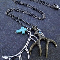 Deer Antler Necklace Silver and Bronze With Feather and Turquoise Cross