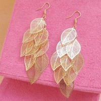 Multi-layered Leaves Hollow Out Long Earrings : Yoco-fashion.com