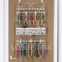 Amazon.com: Overdoor/Wall Jewelry Organizer in White By Longstem - Unique patented product - Rated Best: Home &amp; Kitchen