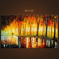 Golden Autumn 40 X 23 Original Oil on Canvas Painting by MilenART