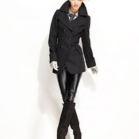 GUESS Coat, Wool-Blend Cutaway Pea Coat - Womens Coats - Macy's