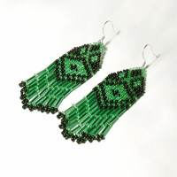 Native American Beaded Earrings. Black and Green Earrings. Beadwork.