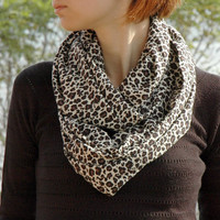 Ecr Brown Black Leopard Printed Cotton - Viscose Loose Infinity Scarf , Shawl , Neckwarmer