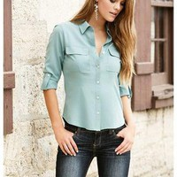 FITTED BUTTON FRONT CHIFFON SHIRT