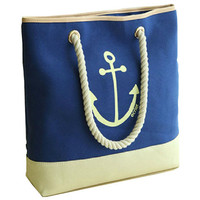 new woman bag Navy blue anchor bag school bag canvas shoulder bag-anchor by ClothLess