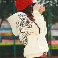 Fashion Korean Womens New Deer fleece Pullover Hoodies Coat Jackets TSM-W801