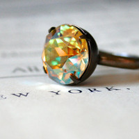 Verde Swarovski Crystal Ring, Oxidized Brass, Estate Style, Sparkly, Stocking Stuffer, Gift Idea For Her