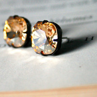 Golden Shadow Swarovski Crystal Stud Earrings, Cushion Cut Square, Dark Oxidized Brass, Estate Style, Stocking Stuffer, New Years Jewelry