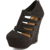 Sueded Zip-Back Wedge Bootie: Charlotte Russe