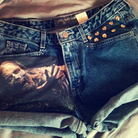 Vintage Levi THE WALKING DEAD zombie high waist shorts