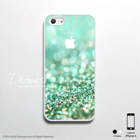 iPhone 5 case, iPhone 5 cover, case for iPhone 5, mint teal green sparkle with apple logo S384