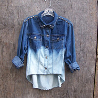 90s grunge studded womens high low denim shirt  long sleeve tunic dip dye ombre bleached blue denim redesigned fishtail hem