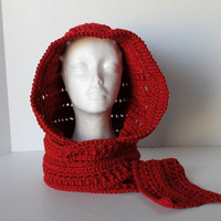 Hooded Scarf - Red - Gaelic