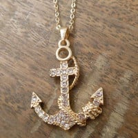Gold Anchor and Rope Necklace - Rhinestone Anchor Necklace