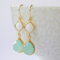 Aqua // White // Gold Earrings