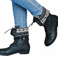New Womens ES01 Black Cuffed Mid Calf Military Combat Boots USA Sz 5.5 to 10