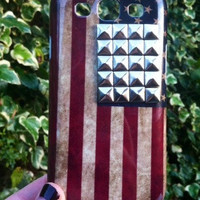 USA Stars & Stripes Silver Studded Plastic Samsung Galaxy S3 Phone Case