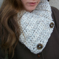 Chunky Cowl Scarf Crocheted Neck Warmer Buttons Cream Wool