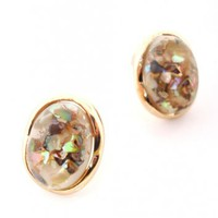 Gold Color Oval Earrings