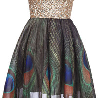 "ROMWE | Golden Sequin ""Bandeau Peacock "" Dress, The Latest Street Fashion"