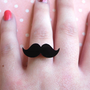 Cute Black Adjustable Moustache Mustache Ring, Quirky, Retro, Movember, Geekery
