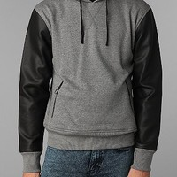 The Narrows Faux Leather Sleeve Pullover Hoodie