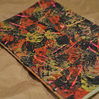 "Abstract ""2"" - Painted and Stamped Moleskine Notebook"
