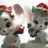 Mid-Century Napcoware Bone China Christmas Two White Mice Miniature Figurines