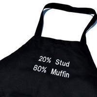 Stud Muffin Black Cotton Mens  Neck Adjustable Grilling Apron