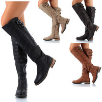 Womens Shoes Riding Buckle Over The Knee High Boots Black Cognac Taupe Size