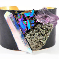 Gem Party Mixed Stone Cuff by nubambu on Etsy