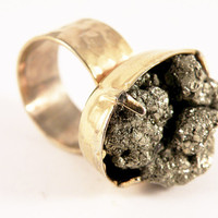 Pot o Gold Pyrite Ring by nubambu on Etsy