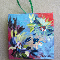 Christmas Ornament Blue Abstract Mini Painting 3 x 3 inch Square Red blue OOAK, handmade