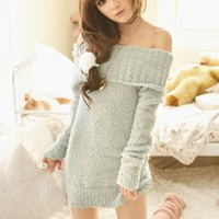 Sweet Bared Shoulder Long Sleeve Dresses Light Green : Yoco-fashion.com