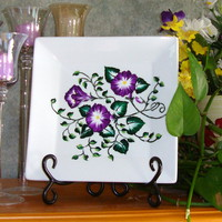 Painted Square Ceramic Plate - Handmade Crafts by PaintItPretty