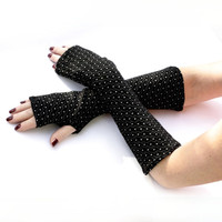 Soft Black  with White Dots  Fingerless Gloves -  Arm Warmers , Gloves , Hand Warmers , Cuffs , Victoriian , Goth , Cotton