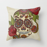 Sugar Skull Throw Pillow by Valentina | Society6