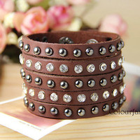 Christmas gift, Five-layer, Metal Rivet, Rhinestone Crystal, Punk Rock, Natural Brown Leather Cuff, Metal Buckle, Wrap Bracelet T-2
