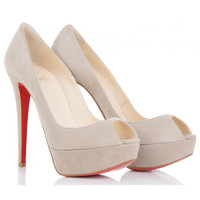 Christian Louboutin Banana 140 Suede Peep Toes [20110801001] - $205.00 : Christian Louboutin Shoes Sale, Enjoy 77% Off On Designer Outlet