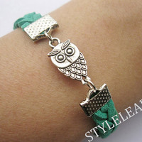 Bracelet-antique silver owl bracelet,owl braid bracelet