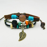 Unisex  fashion orange gem and leaf pendant leather bracelet--green-blue-black wax rope and colourful wooden bead braided leather bracelet